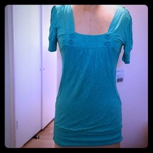NWT Forever 21 teal green tunic shirt